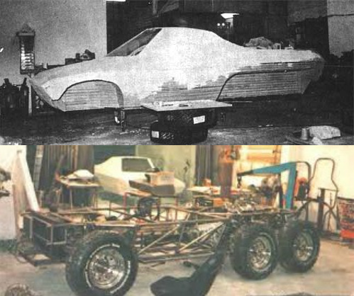 A mock up of the kevlar body and the tubular chassis under construction.