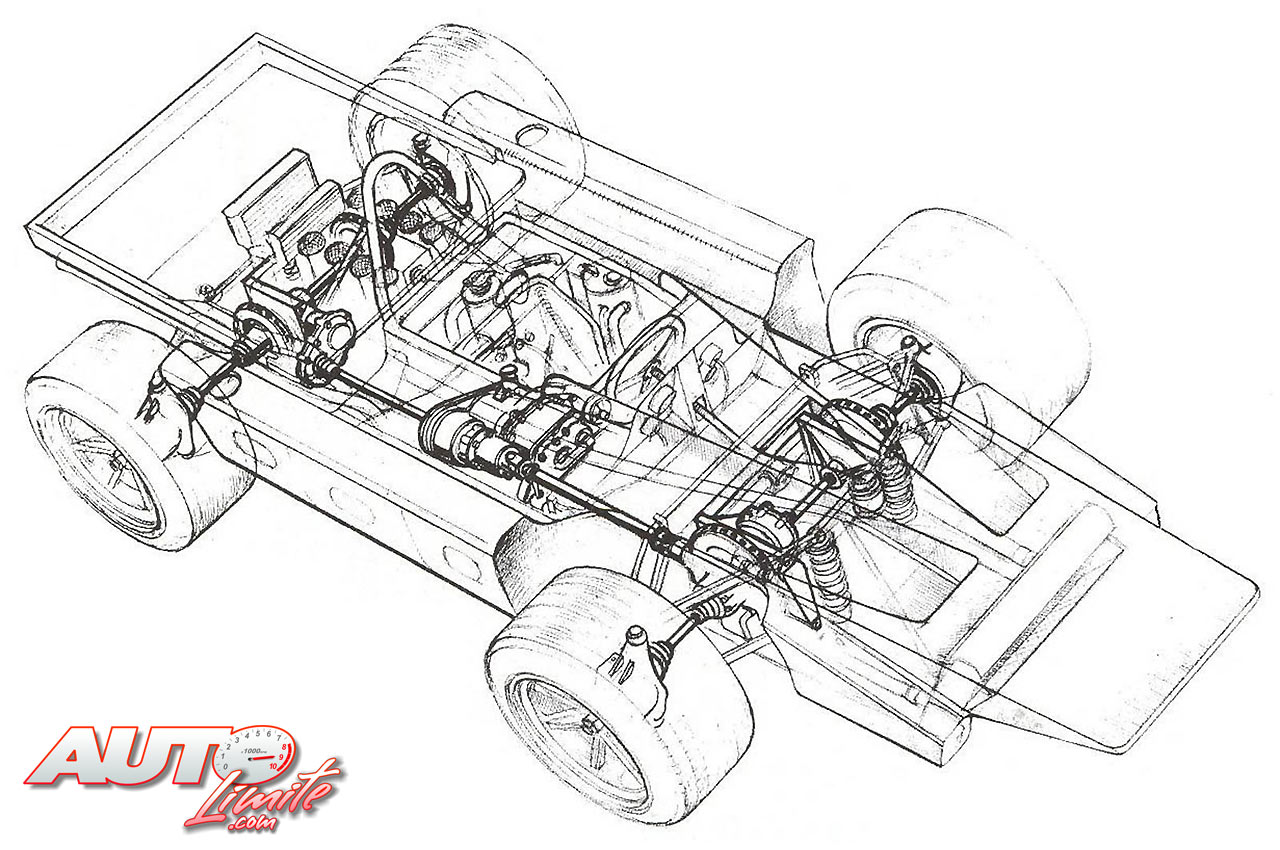 A sketch of the Cosworth's unique layout.