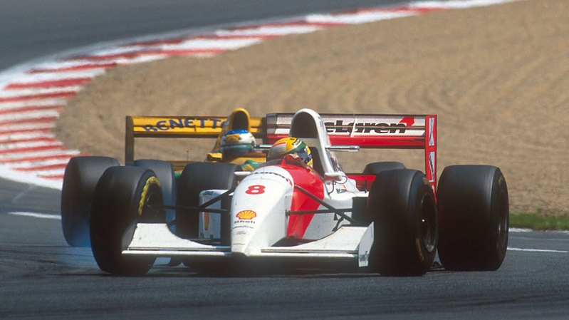 Ayrton Senna being hounded by Michael Schumacher, Magny Cours 1993.