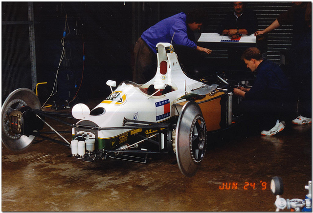 The 102C in the pits, Silverstone Test 1991.