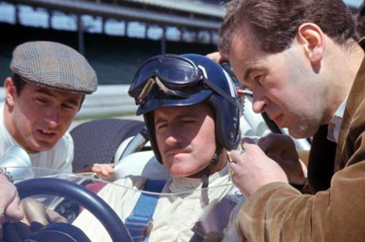 Broadley with two famous rookies, Jackie Stewart (left) and Graham Hill.