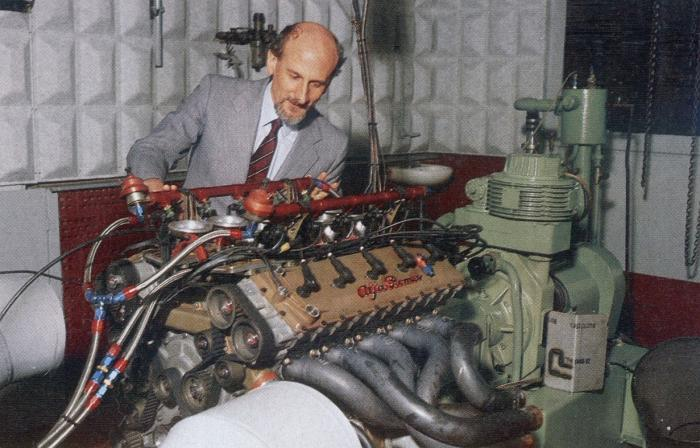Chief engineer Gianni Tonti testing the V1035 engine.