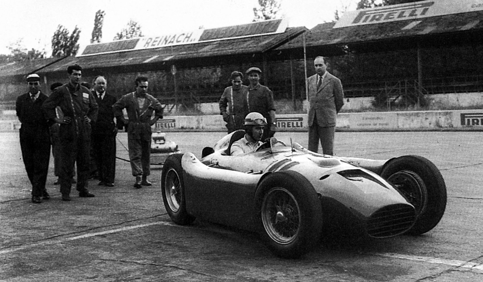 Alberto Ascari testing the D50 at Monza, 1954.