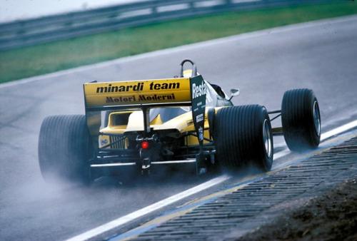 Pierluigi Martini in the wet at Zandvoort, 1985.