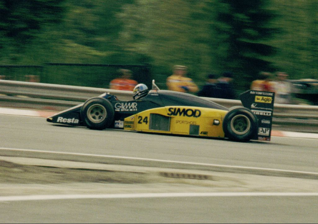 Alessandro Nannini and the Minardi M185B, Spa Francorchamps 1986.
