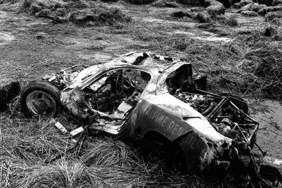 Mauro Bianchi's ruined car after his horrendous accident.