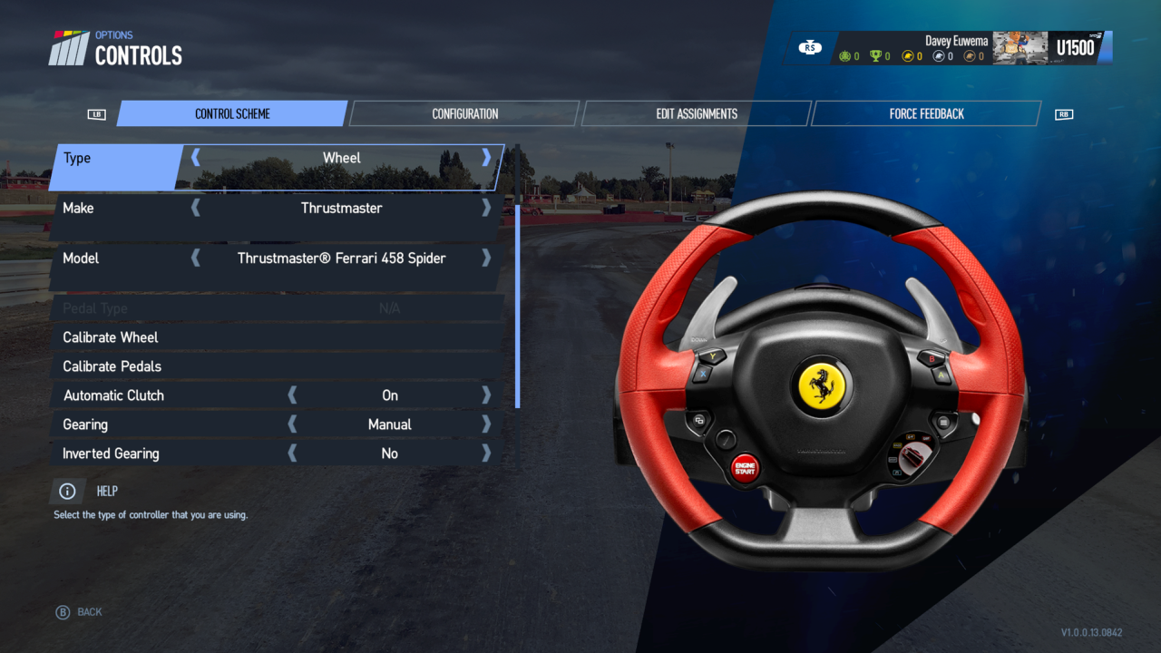 The settings menu offers a vast amount of options to tweak for both wheel and pad.