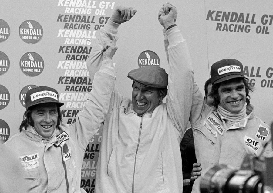 From left to right: Jackie Stewart, Ken Tyrrell and François Cevert celebrating a 1-2 finish, Watkins Glen 1972.