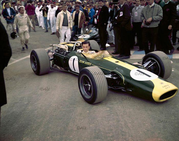Jim Clark making his way to the grid, Watkins Glen 1966.
