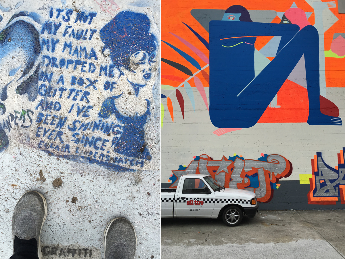 Clarion Alley road graffiti (left) and Portrero Hill wall art (right)