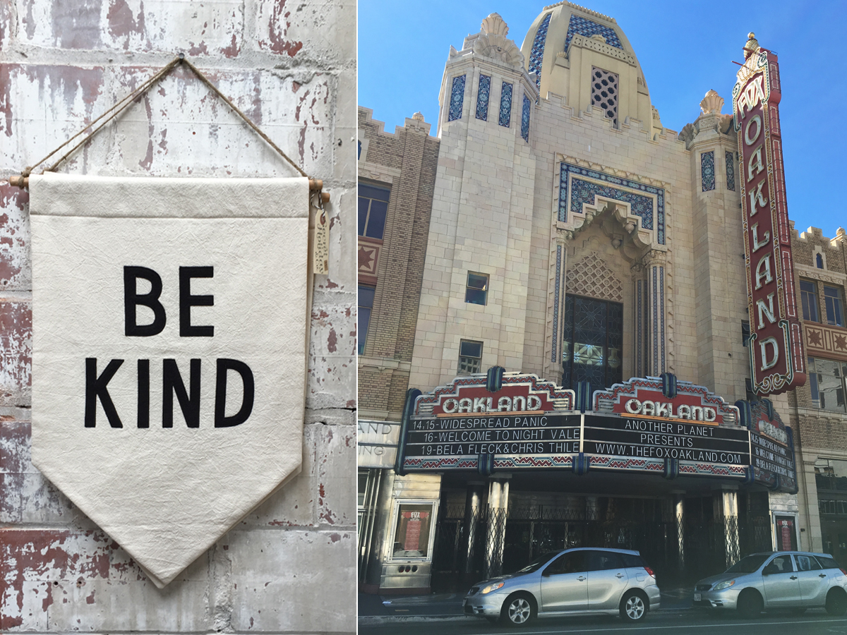 A banner in Temescal Alley (left) and the Fox Theatre in Oakland (right)