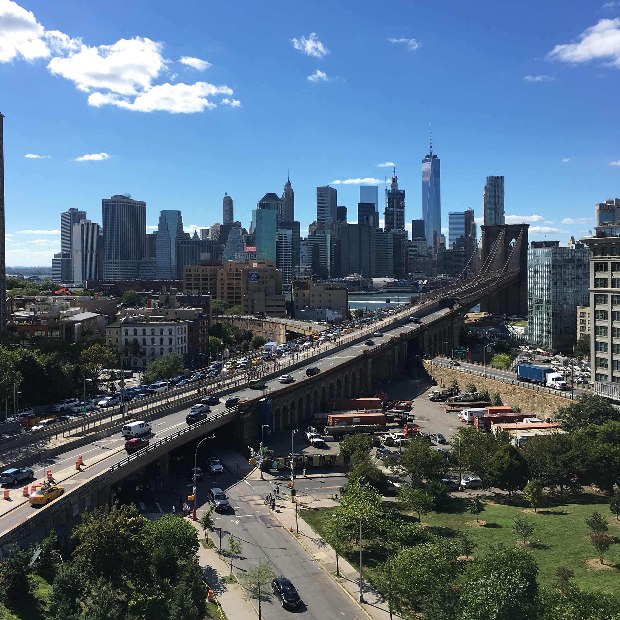 The view of Manhattan from Etsy HQ in Brooklyn