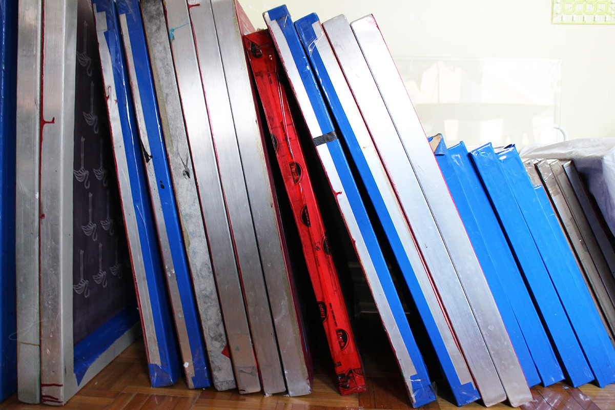 My growing area of screen printing frames.