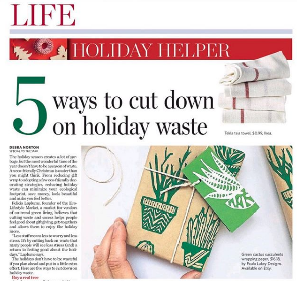 Toronto Star Life Feature - A great article on being less wasteful this holiday season, including using my eco-friendly succulents kraft wrapping paper. 🎄❤️ Article by @debra_norton