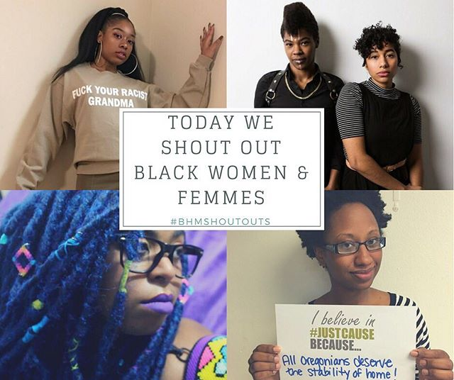 In honor of Black History, throughout February Momentum Alliance will be doing Black History month shout outs where we spotlight Black History makers! Join us by using the hashtag: #BHMShoutOuts  On the first day of Black History Month MA celebrates these amazing Black women and Femmes! (Top left) Olatiwa Karade is the founder and creator of SplindidRainCo a clothing line for activists featuring dope political sweatshirts! She's been featured in Huffington Post, CNN  Visit their Etsy shop (https://www.etsy.com/shop/splendidrainco) to get your own! **These sweaters are an MA fave!** (Top right) Leila Haile + Maya Vivas are the cofounders of Ori Gallery which opens TODAY on N Mississippi Ave! The pair opened the gallery with the intentional goal of centering queer and trans artists of color and holding institutional power in an area that was once redlined and is now aggressively gentrified. Stop by their grand opening tonight! (Link to Ori stuff) (Bottom left) Momo Pixel is an artist, game designer, art director at a popular advertising agency, pixel fashion designer and the creator of the online game: Hair Nah. Hair Nah is a beautifully designed 8-bit game that highlights a struggle every Black woman and femme is very familiar with, white people touching your hair! Go play at http://Hairnah.com (Bottom right) Katrina Holland is the executive director of the Community Alliance of Tenants which is Oregon's  only statewide, grassroots, tenant-controlled, tenant-rights organization. Under her leadership the organization has directly organized over 50 buildings around Portland and thousands of tenants around the state to demand safe and stable housing. To learn more about the amazing work CAT is doing check out their facebook and website! (Link to both)