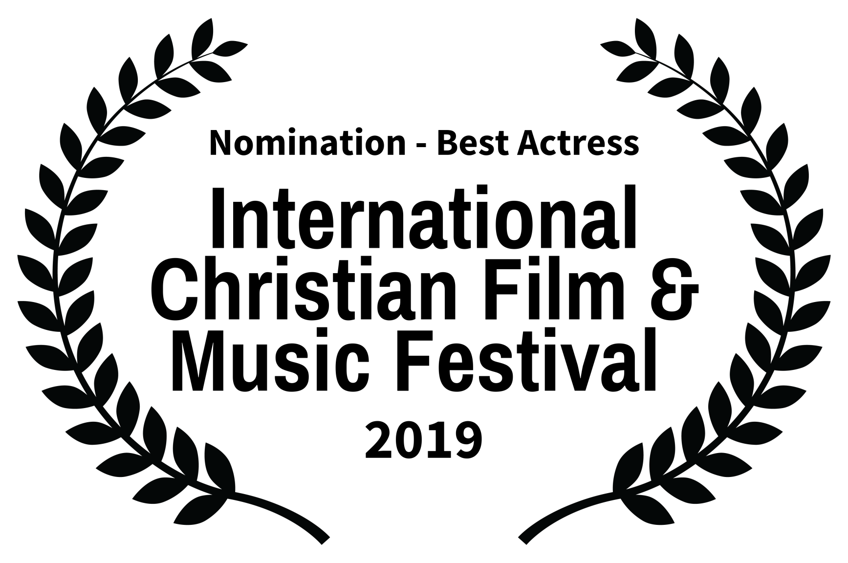 Nomination - Best Actress - International Christian Film  Music Festival  - 2019.png