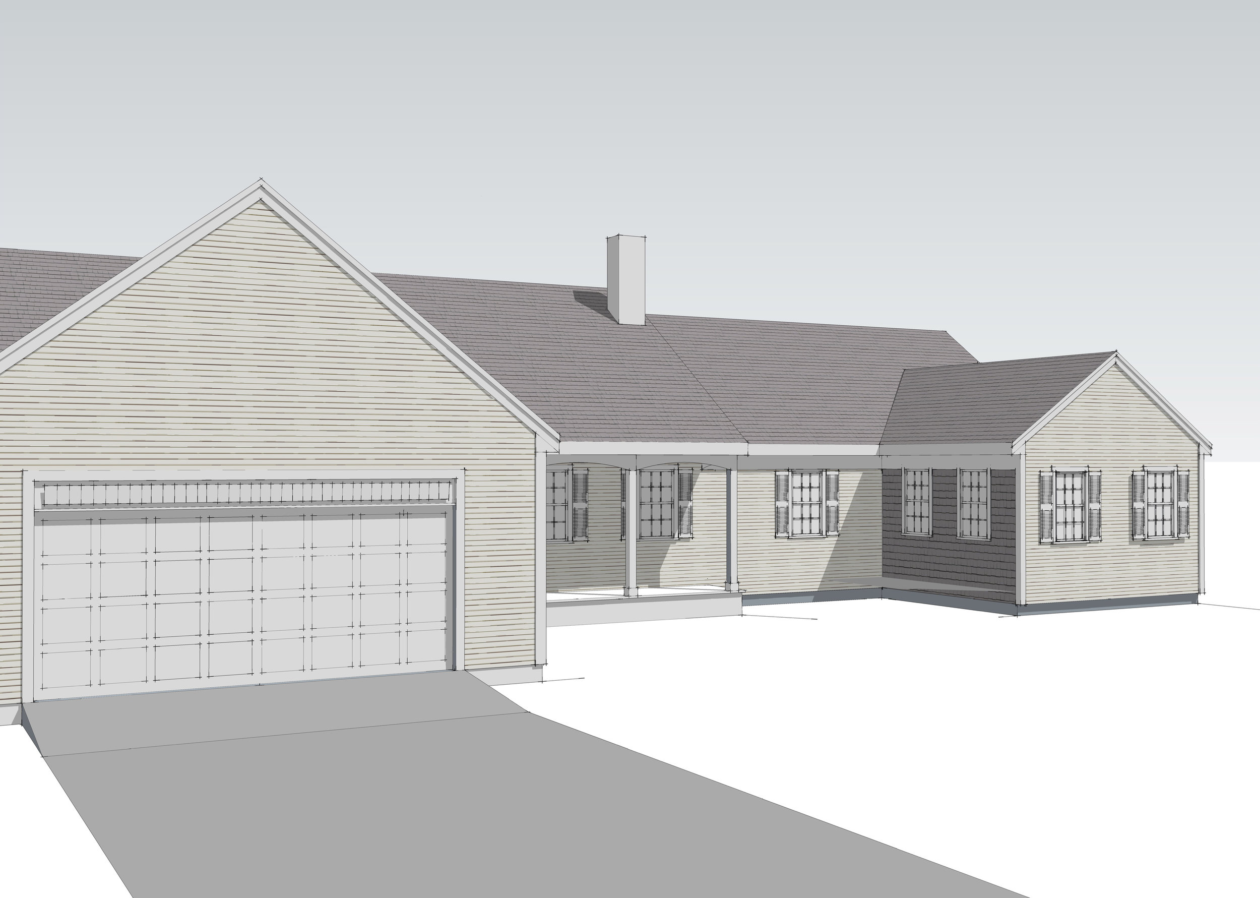 These 3D renderings helped a recent client with designing an addition (t  he gable on the right.) The existing house had some areas with white cedar shingles and others with clapboards. The client wanted to see the heights and size of addition, how far it was coming to the front, the space between garage and addition, and the size and amount of windows in the addition. I made sure that all the soffits align to the existing ones and that the added gable pitch matches the existing pitches. The renderings helped me demonstrate these points.