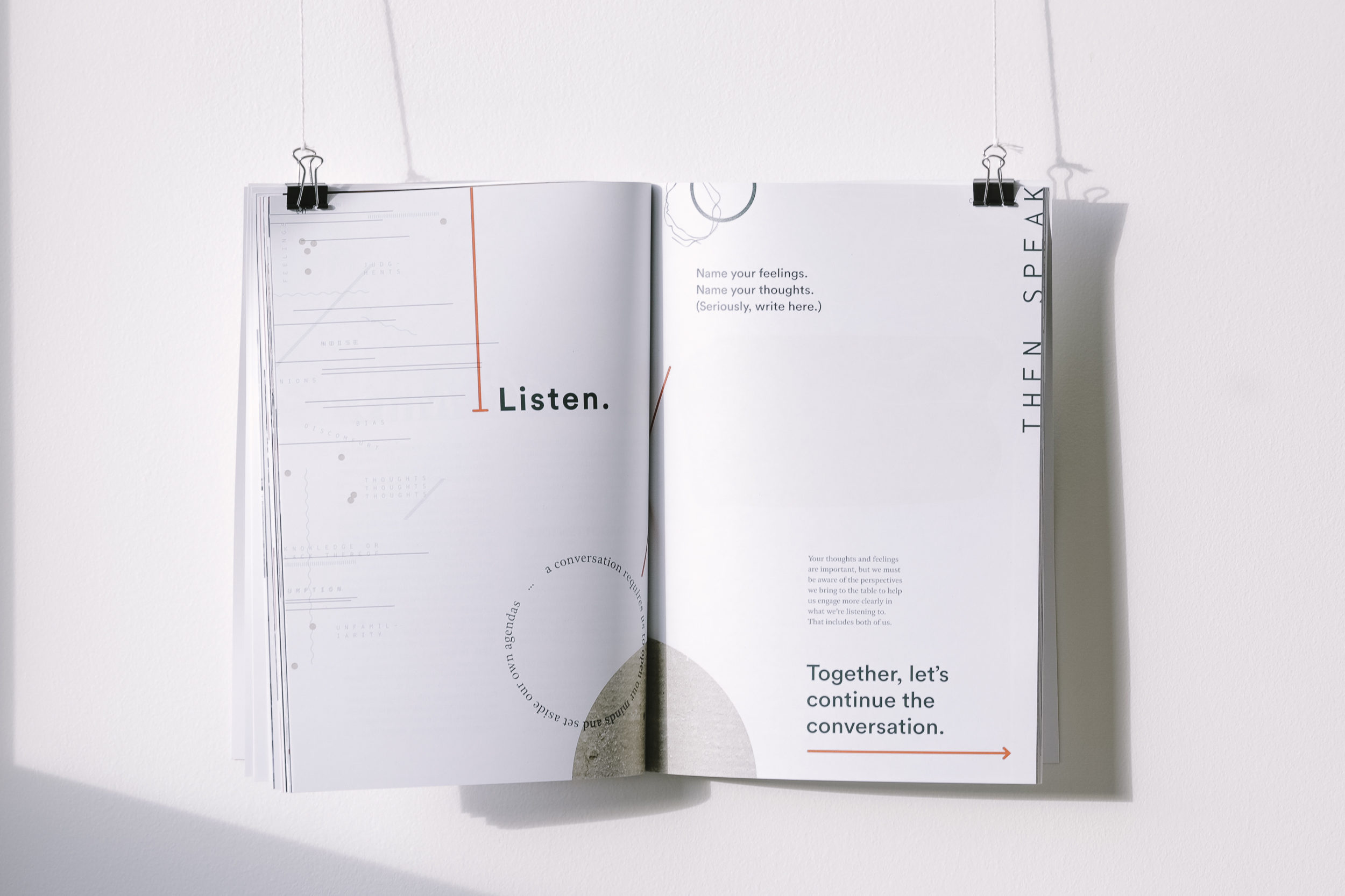 Listen, then speak.  Interactive visual break. Created independently.