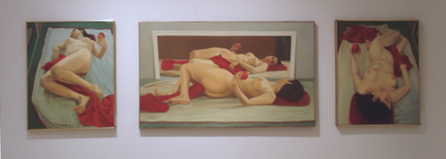 "Red Triptych ,  1971, Oil on linen, 24"" x 40"""