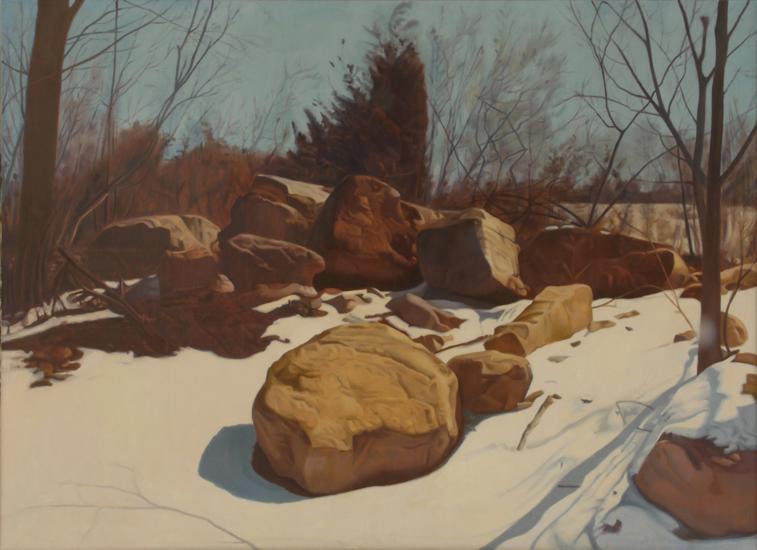 """Portrait of a Rock,   1975, Oil on linen, 36"""" x 50"""""""