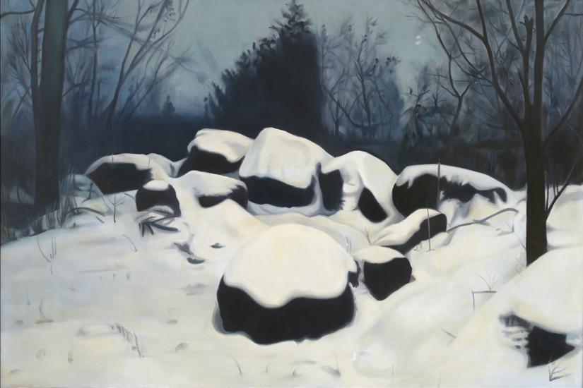 "Four Seasons - Winter ,  1975, Oil on linen, 24"" x 36"""