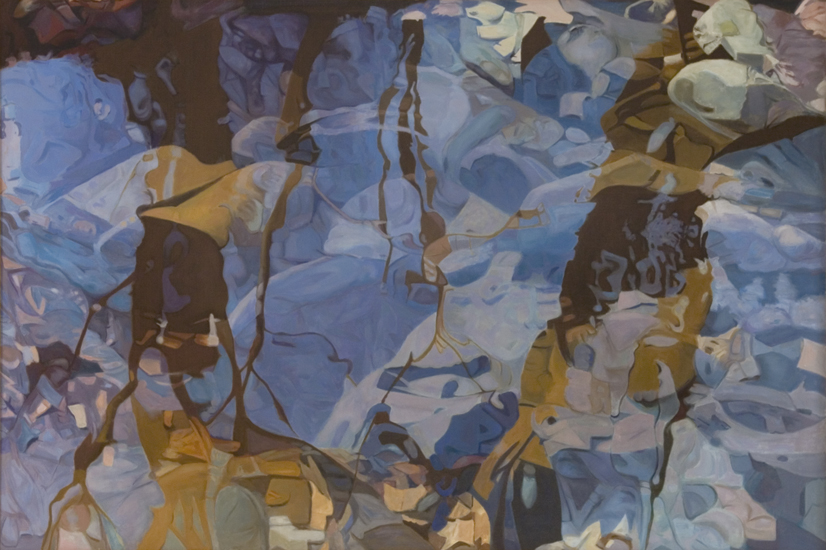 "Reflection Blue,   1982, Oil on linen, 47"" x 70"""