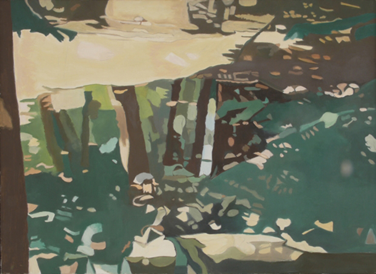"""Green Reflections,   1995, Oil on linen, 26"""" x 34"""""""