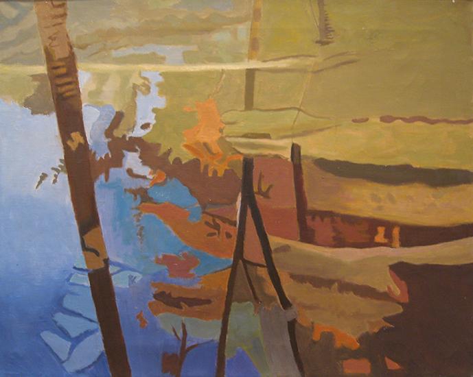 """Blue Stream  , 1998, Oil on linen, 16"""" x 20"""""""