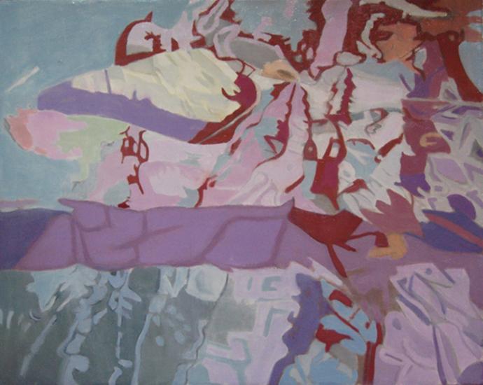 "Floating Rock  , 1993, Oil on linen, 16"" x 20"""