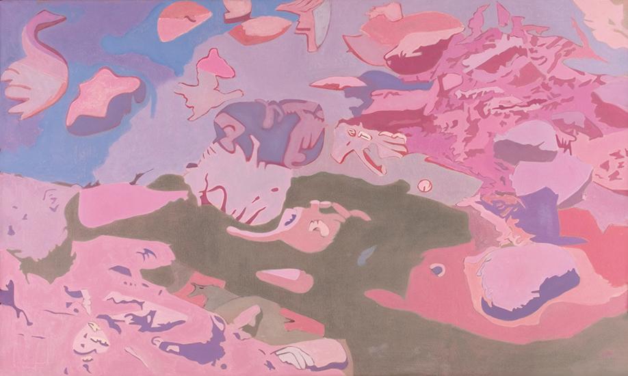 "Clustered  , 1988, Oil on linen, 36"" x 60"""