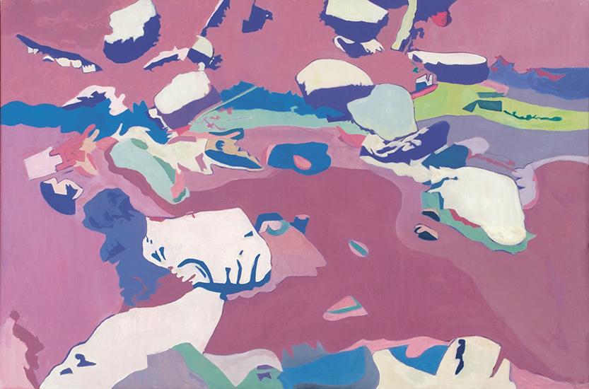 "Floating Rocks  , 1994-96, Oil on linen, 40"" x 60"""