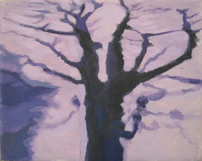 """Little Tree,   1998, Oil on linen, 8"""" x 10"""""""