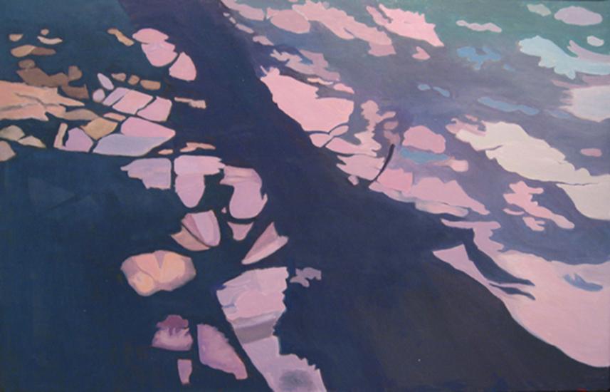 """Purple Stripe  , 1998, Oil on linen, 26"""" x 40"""""""