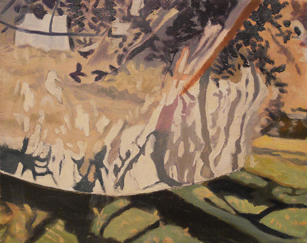 "Apple Tree With Net  , 1990, Oil on linen, 8"" x 10""  Sold"