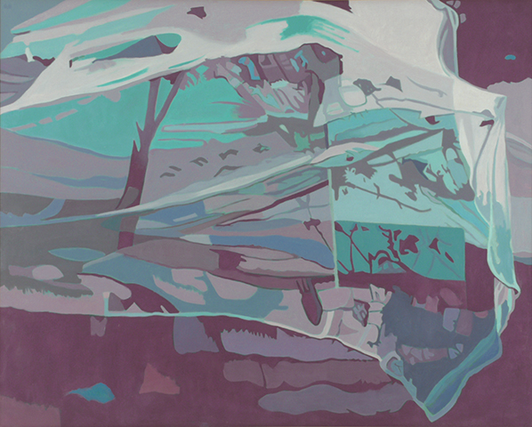 "Net II, Purple,   1990, Oil on linen, 40"" x 50"""
