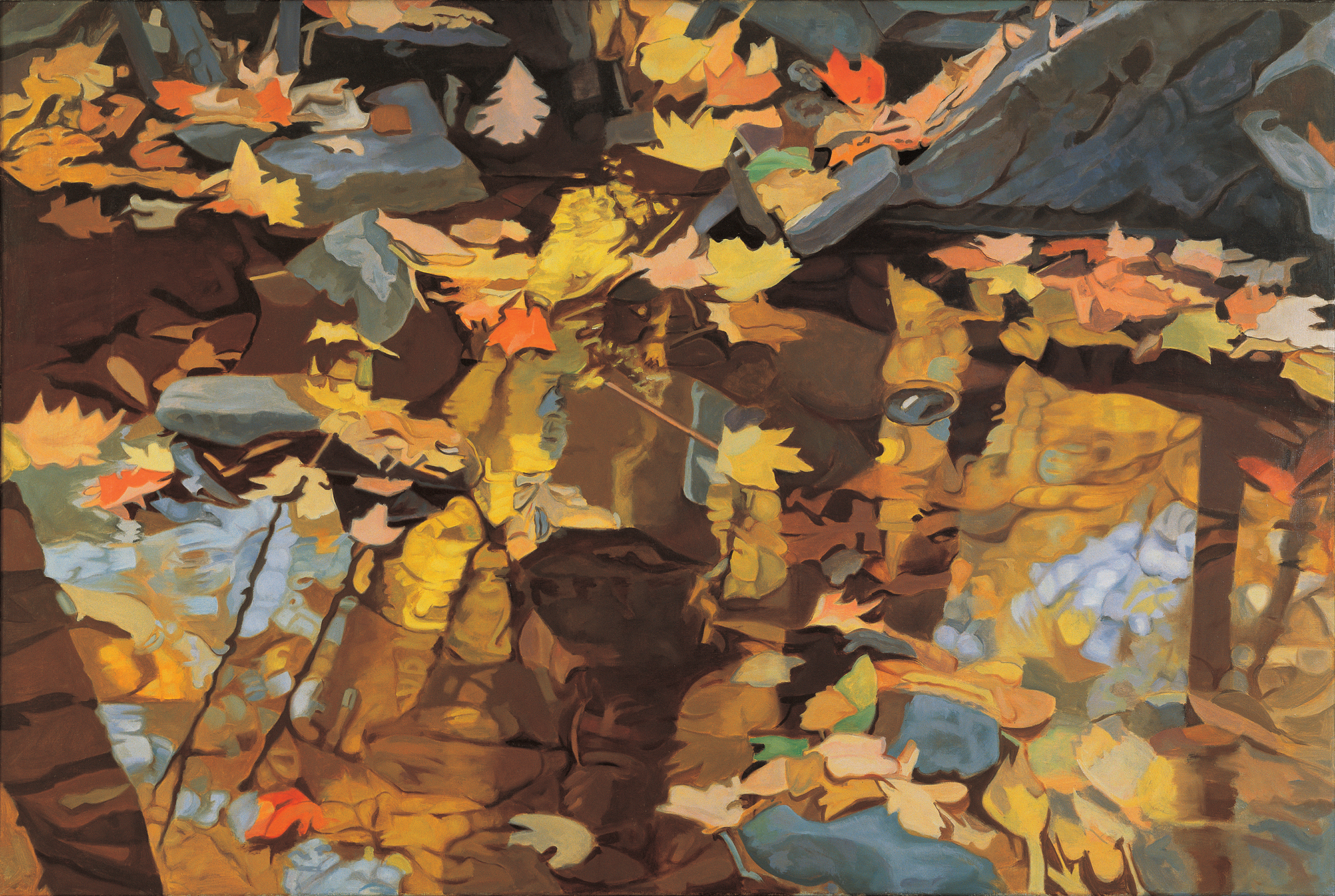 "Floating Leaves  Oil on Linen, 40"" x 60"", 1984"