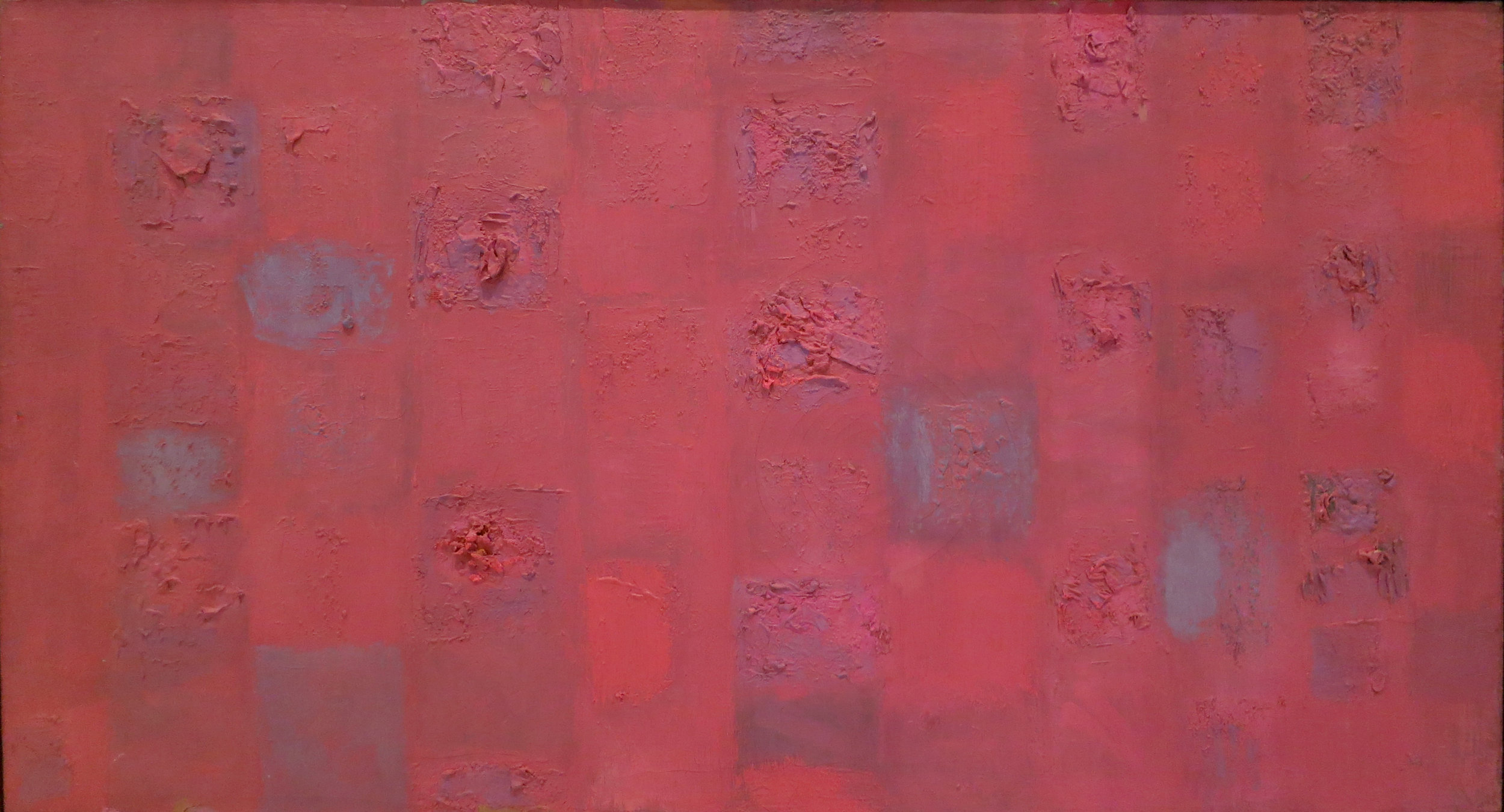 "Compassion Theme_Assemblage in Red,   24"" x 44"", 1956"