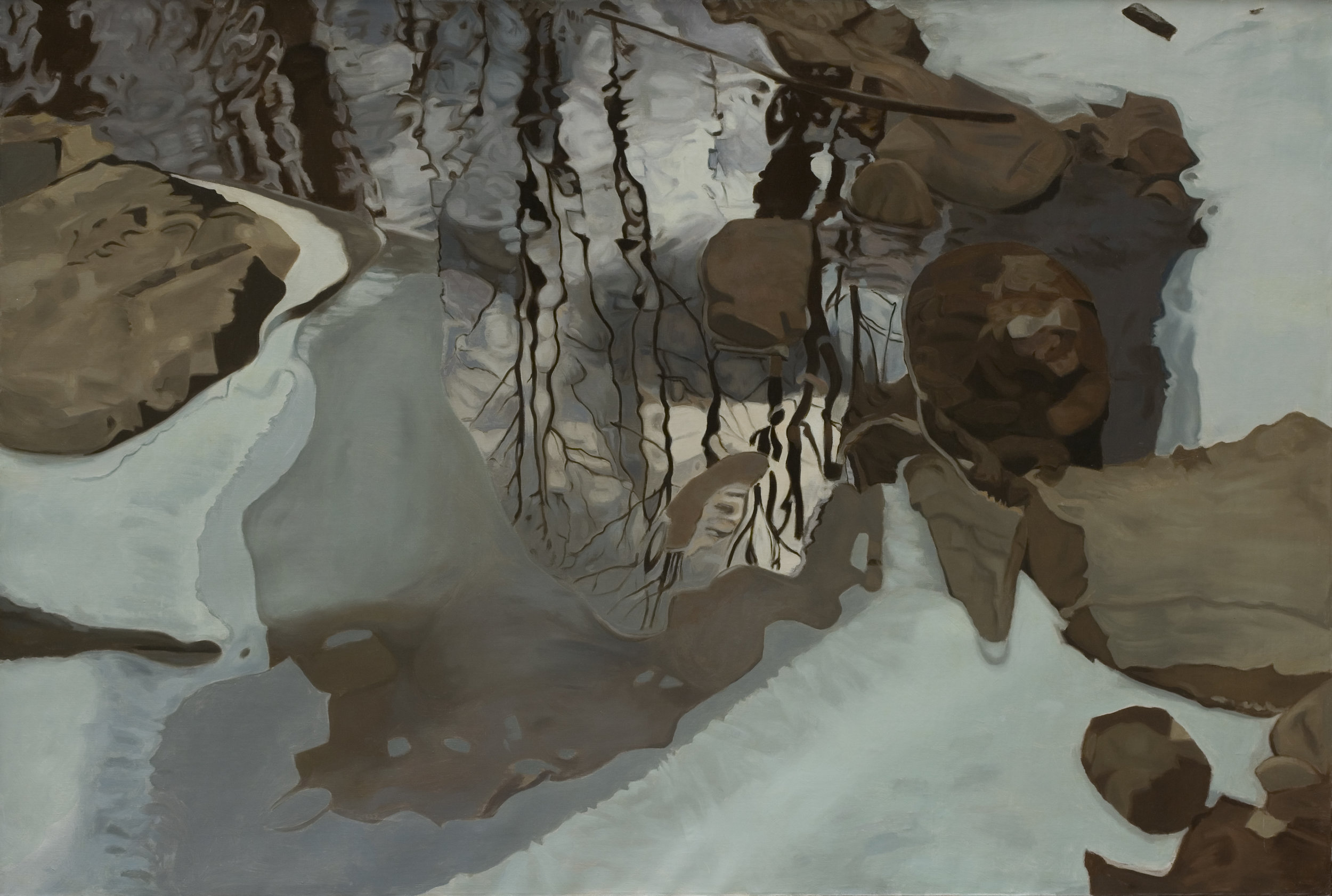 "Winter Reflection 47""x70"", Oil, 1981"