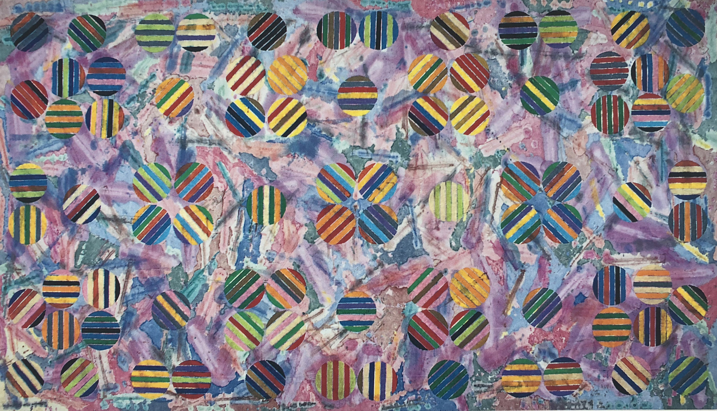 "Alan Shields  The Science of Over-Abun-Dence,80"" x 140 1/2"", Acrylic and thread on Canvas, 1988"