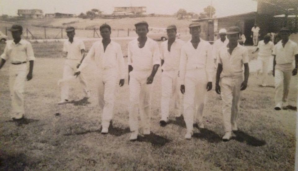 My grandfather (in the middle) picture with his cricket team in Guyana