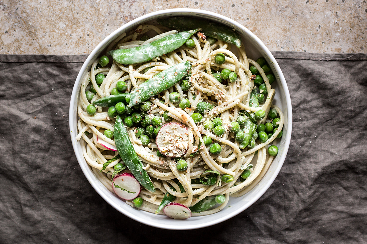 Spring pea pasta with client Soom Foods' tahini. Photo by Andrea Bemis.