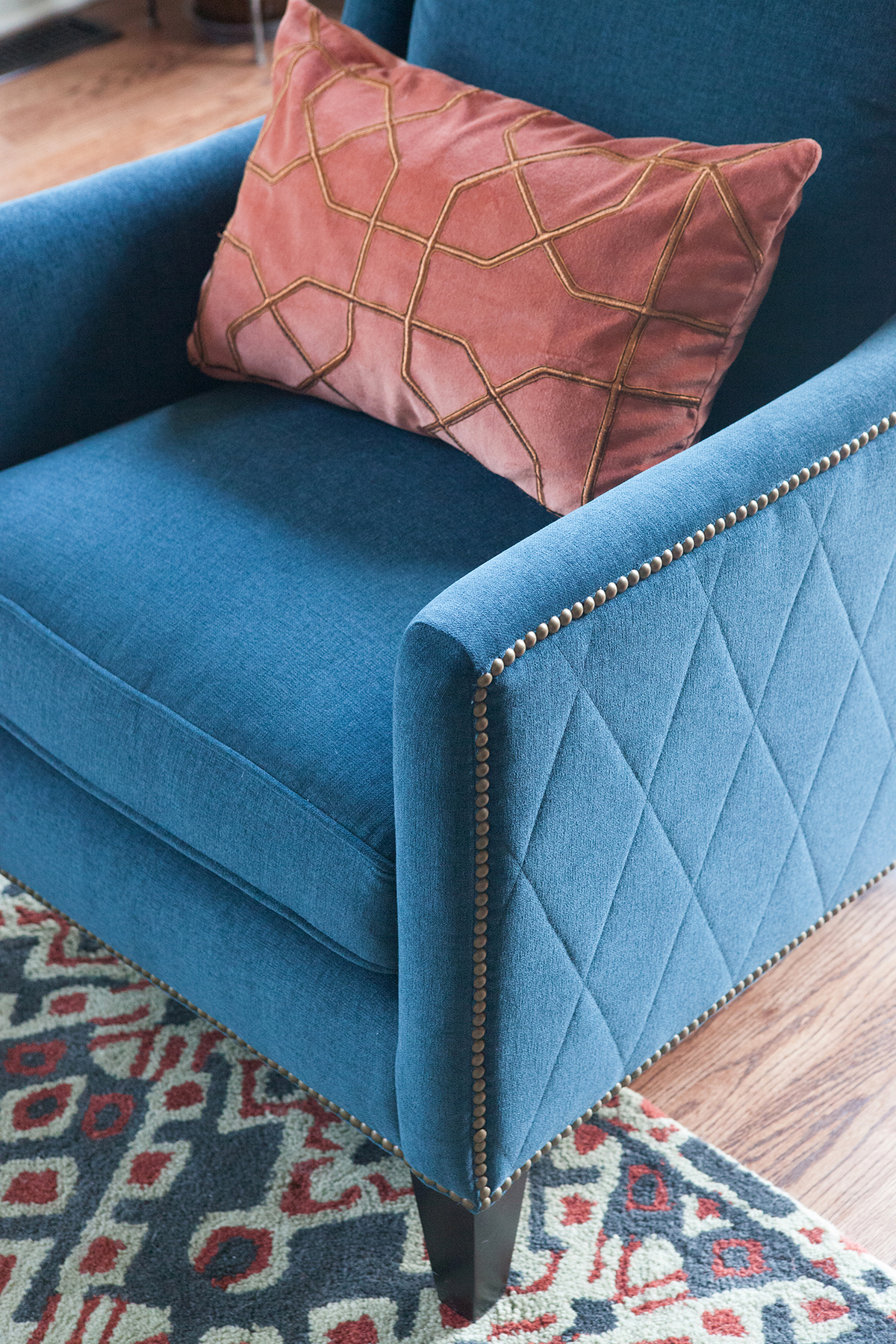 Blue and Muted Coral Interior Design by SG23 Design | Photo by Kate Raines of Plate 3 Photography