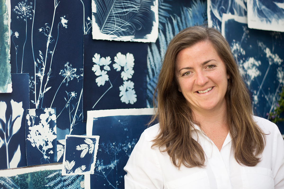 Sarah Bourne Rafferty (Atwater Designs) with some of her blue and white botanical cyanotypes.