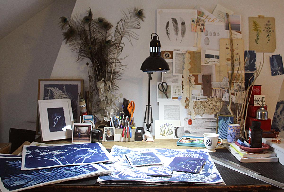 Sarah Rafferty's fine art home studio office space.
