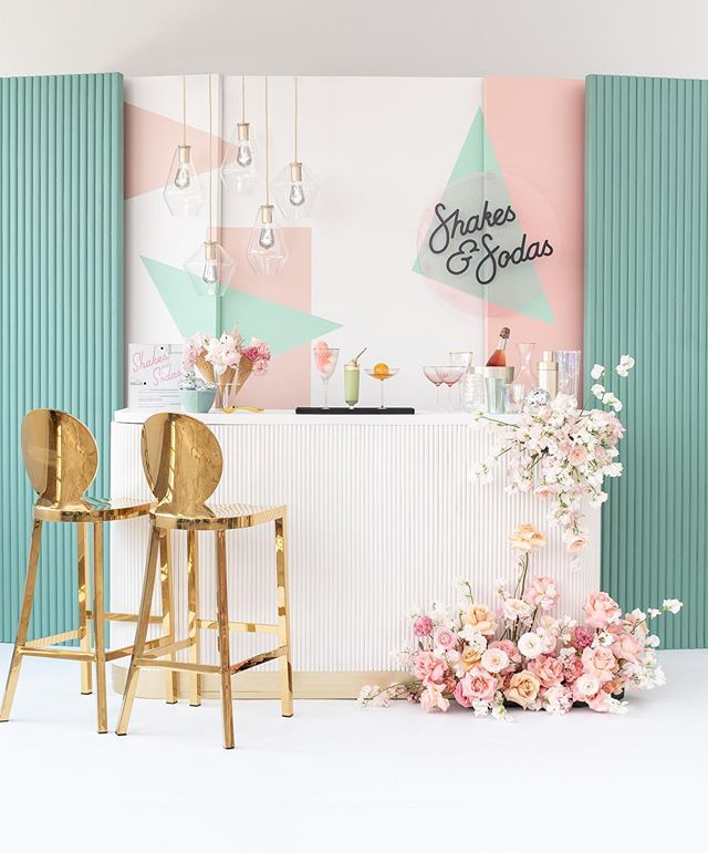 """We pitched this themed cocktail bar design as a """"delicious boozy dessert drink bar with a retro ice cream shoppe vibe, but with lots of clean, modern influences, and cute-quirky details!"""" We imagined this as an idea that could easily inspire engaged couples to try something different, but also took the opportunity to create a concept we'd want to visit ourselves! Dessert drinks + pastel/iridescent details + amazing vendors = total and complete pretty overload 🍹💗🍦. Thank you to @washingtonianweddings for the wonderful opportunity, and thank you to everyone who helped bring this vision to life! See this beauty in the newest issue of @washingtonianweddings- out now! . . . . . . Magazine: @washingtonianweddings 