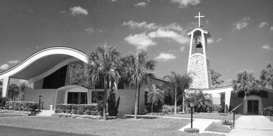 Photo 1: Early Photo of St.Cecilia Catholic Church from church brochure. Gundersen & Wilson Architects -1966. Photo courtesy of St Cecilia Catholic Church