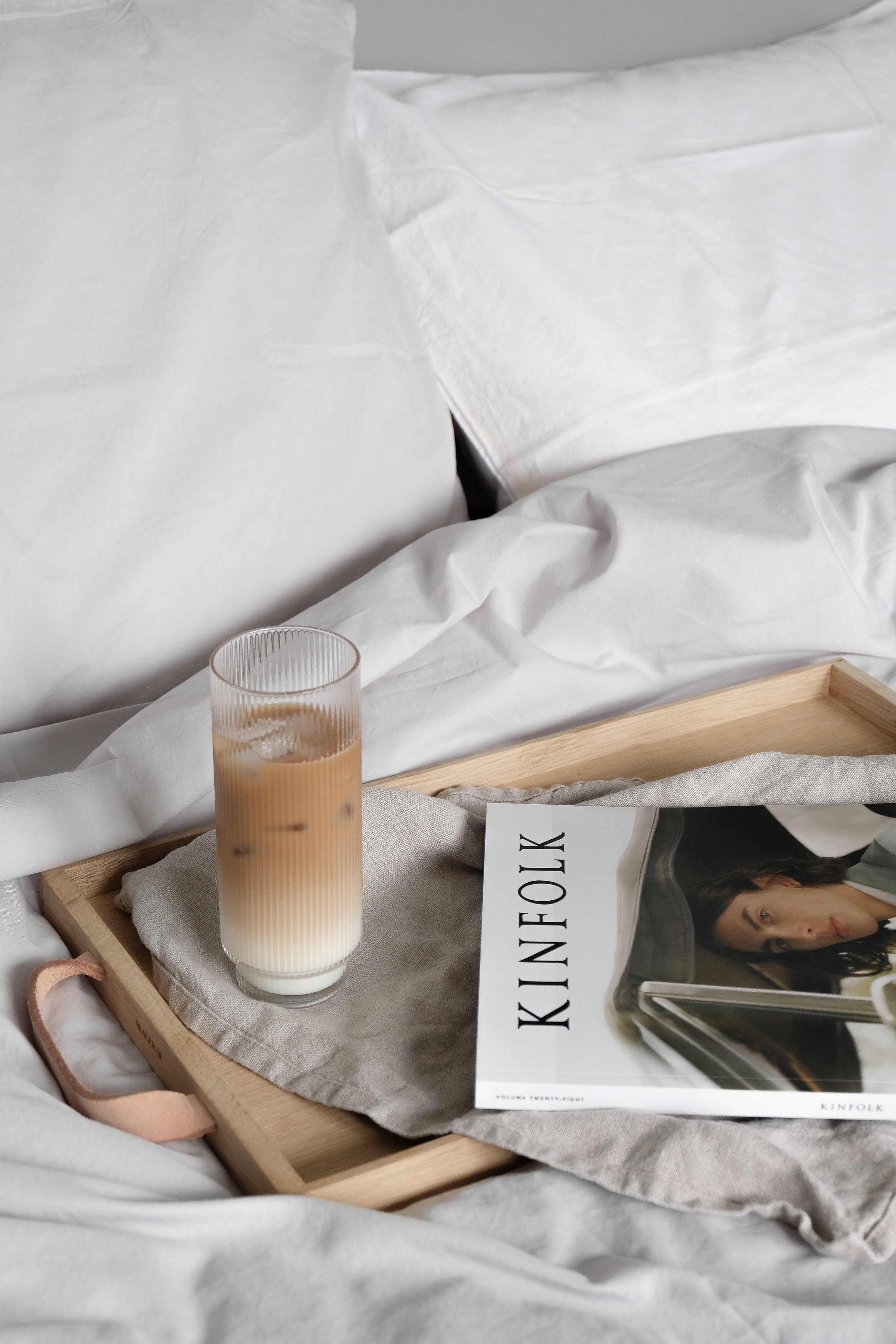 A perfect Sunday morning in bed with an iced coffee and the new Kinfolk
