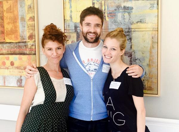 Nikki McCauley, Topher Grace and Ashley Hinshaw sharing lots of laughs with everyone at Kaiser Hospital