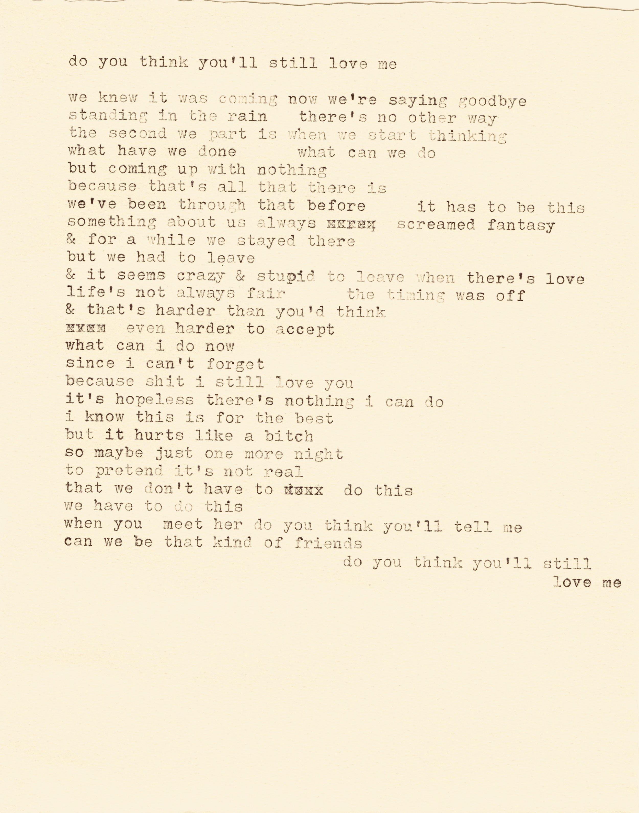 do you think you'll still love me lyrics typewriter.jpg
