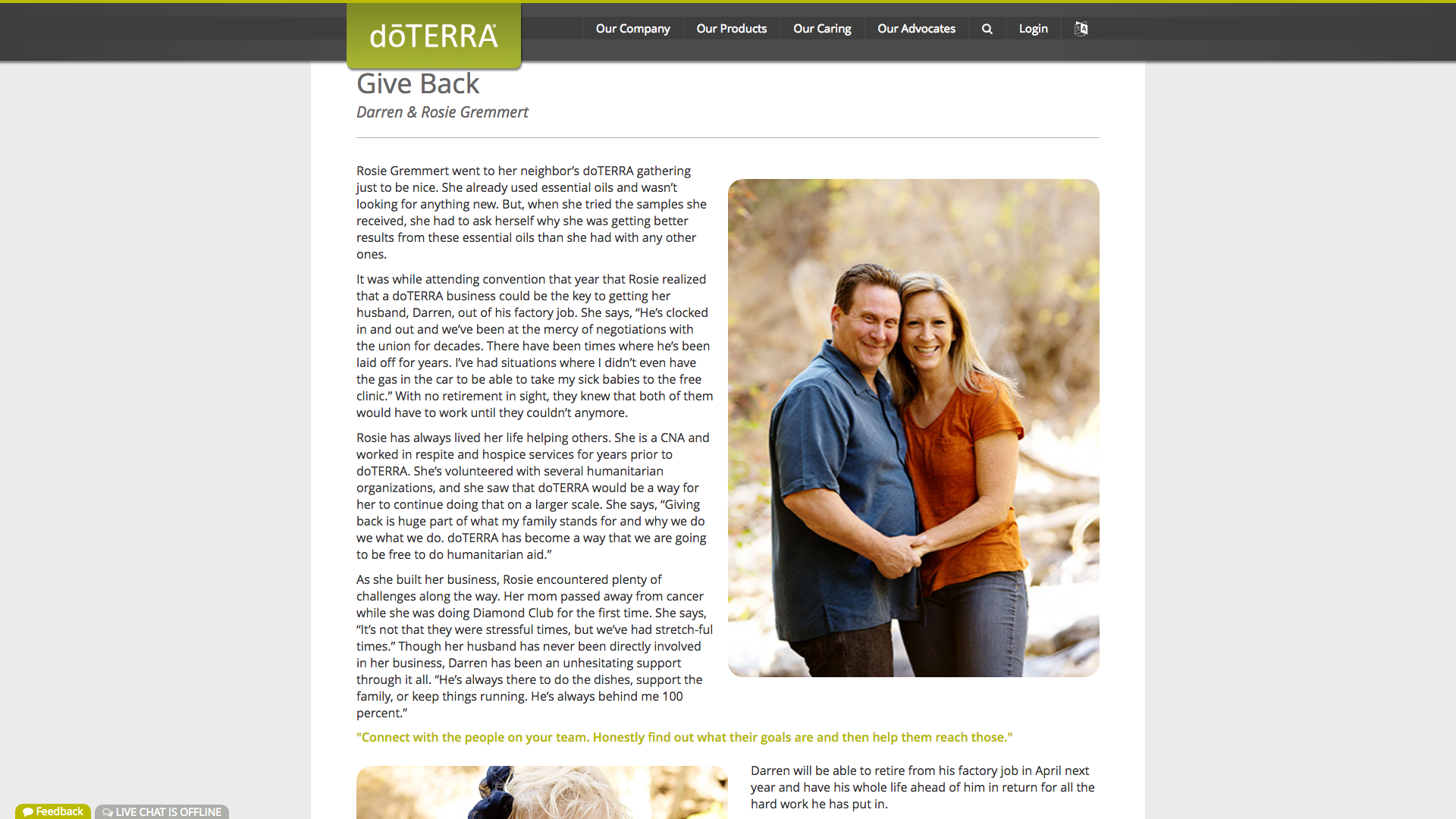 Rosie has been featured in the dōTERRA leadership magazine. Click  here  to read it online!